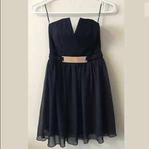 ASOS Petite Size 2 Strapless Navy Party Dress